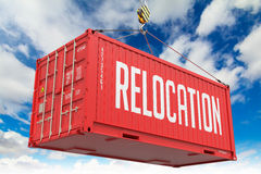relocation-red-hanging-cargo-container-hoisted-hook-blue-sky-background-45423321